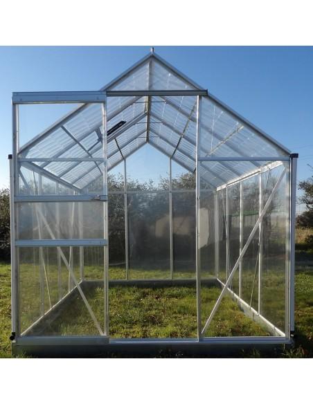 Serre de jardin Cristal 4,75m² avec polycabonate transparent et polycarbonate effet tuile transparente sur le toit