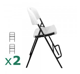 Lot de 2 chaises tabourets pliants pour mange-debout Polyéthylène