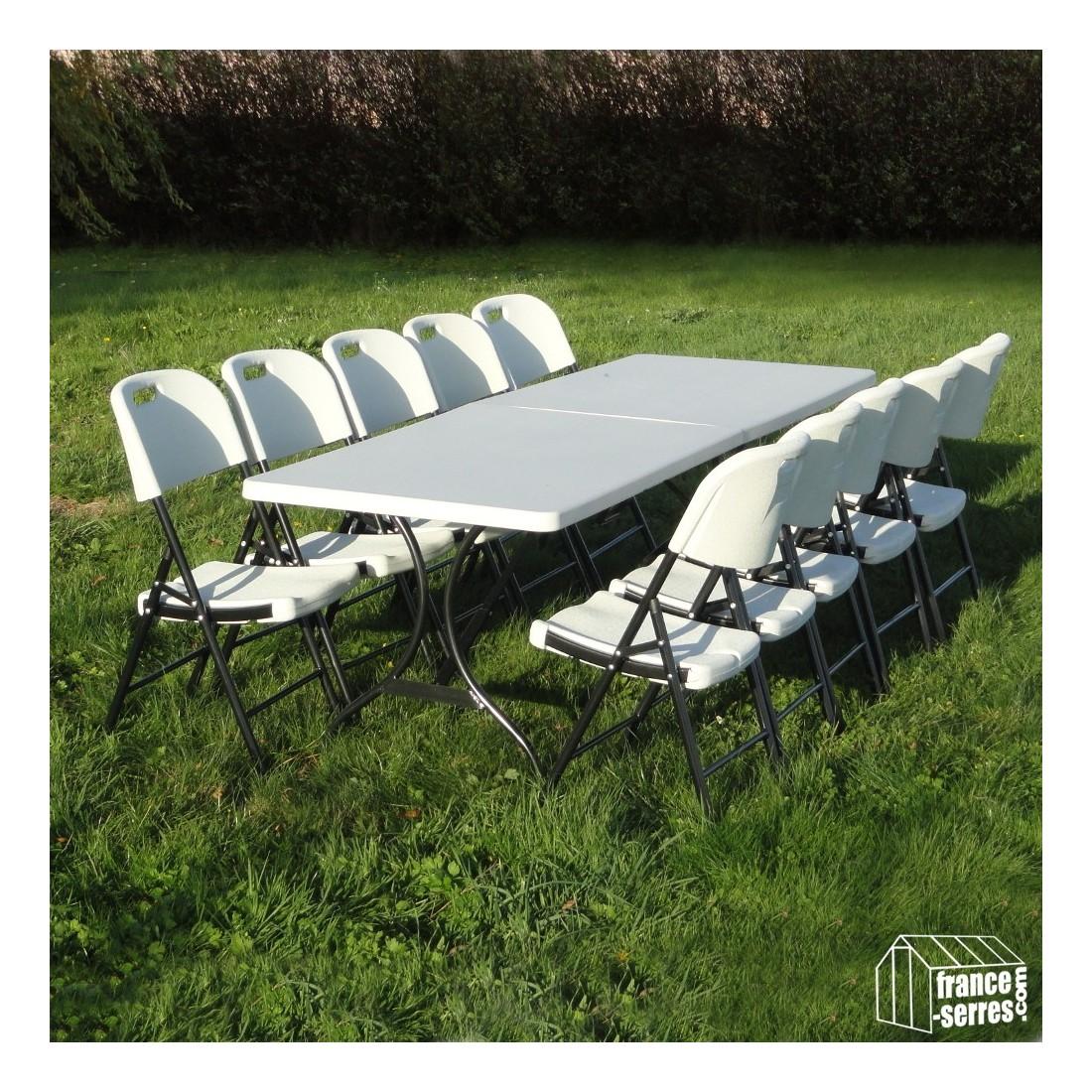 nos chaises pliantes en poly thyl ne autour d 39 une table rectangulaire de 2 44m. Black Bedroom Furniture Sets. Home Design Ideas