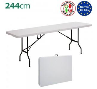 Table pliante valise rectangulaire 244cm en Polyéthylène