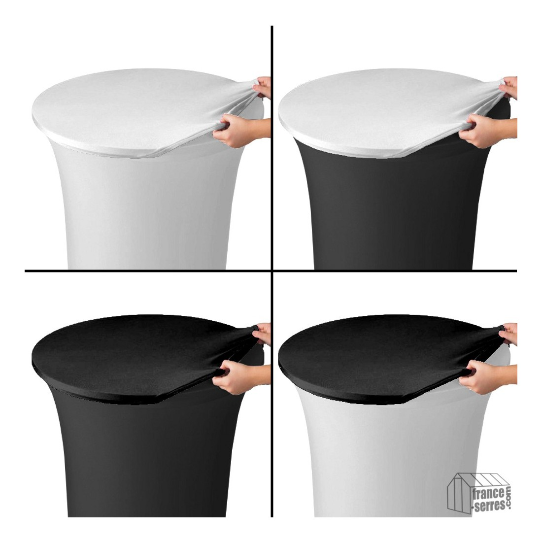 housse de plateau ou top en lycra noir pour table mange debout. Black Bedroom Furniture Sets. Home Design Ideas