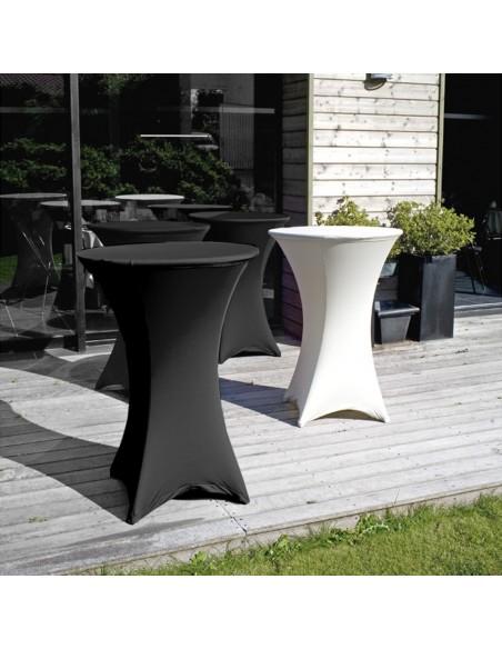 Housse tubulaire en Lycra blanc pour table mange-debout
