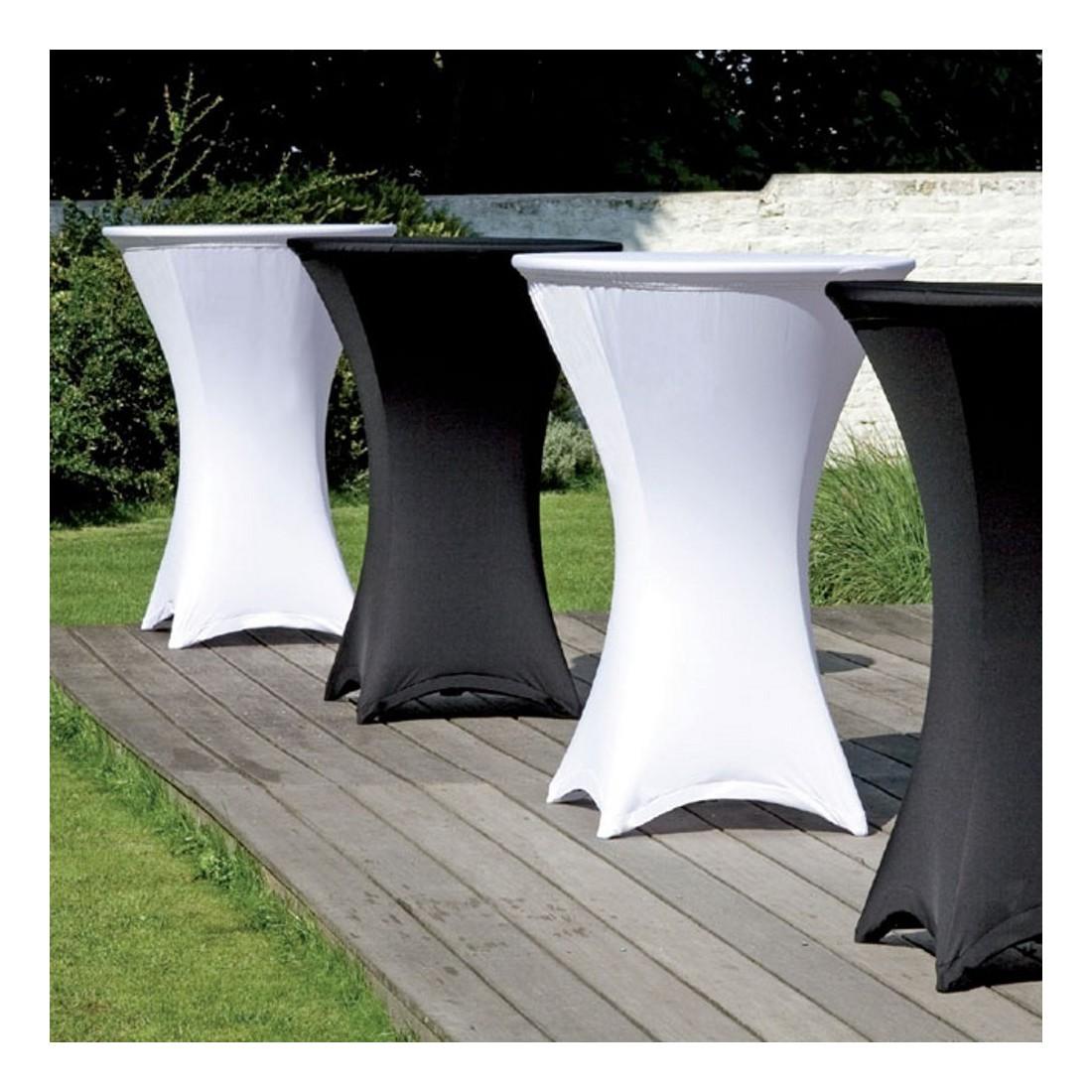 housse tubulaire en lycra blanc pour table mange debout. Black Bedroom Furniture Sets. Home Design Ideas