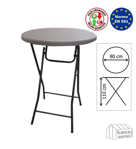 Table haute mange-debout pliante en Polyéthylène 80cm
