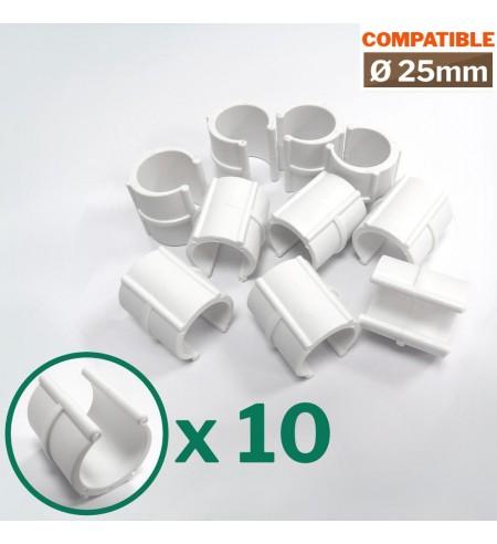 Lot de 10 clips pour serre tunnel de jardin de 25mm de diamètre