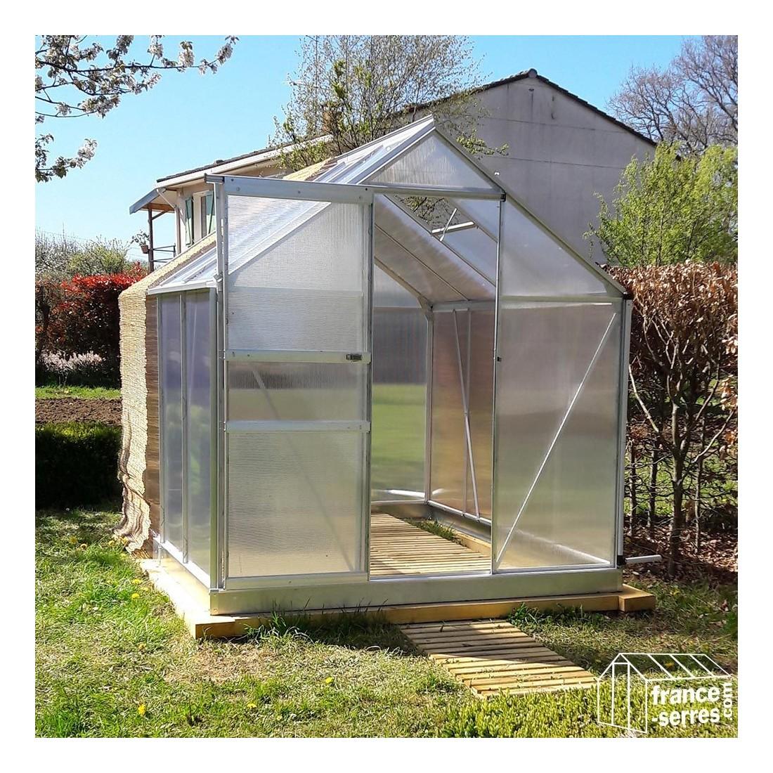 Serre de jardin en aluminium et polycarbonate alv olaire - Plaque polycarbonate pour serre jardin ...