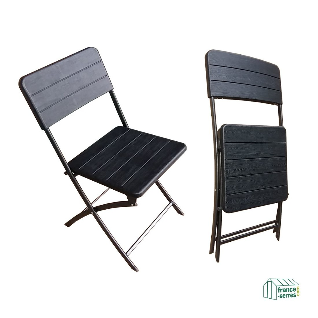 lot de 4 chaises pliantes noires imitation bois en poly thyl ne. Black Bedroom Furniture Sets. Home Design Ideas
