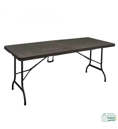 Rectangulaire Bois 180cm En Valise Noire Polyéthylène Imitation Pliante Table cqAj3L4R5