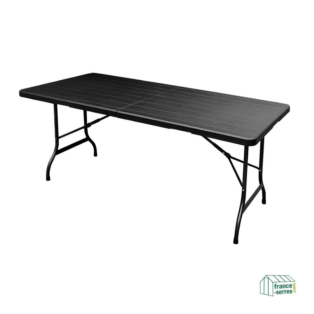 table rectangulaire 180cm noire imitation bois pliante en valise en poly thyl ne. Black Bedroom Furniture Sets. Home Design Ideas