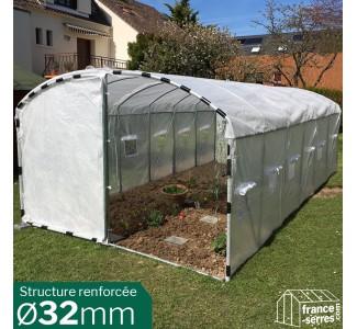 Serre tunnel de jardin avec pied droit 21m²