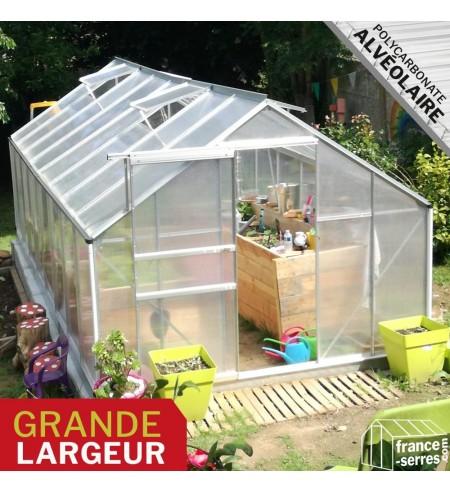 Serre de jardin en polycarbonate alvéolaire - grande Largeur