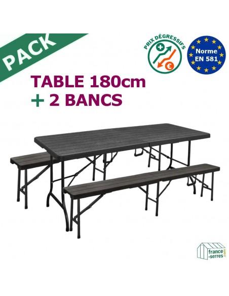 Pack TABLE RECTANGULAIRE pliante 1,80m + 2 BANCS pliants 1,80m en Polyéthylène NOIR imitation Bois