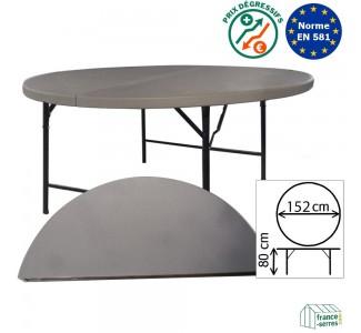 Table pliante ronde en Polyéthylène 152cm pliante format valise