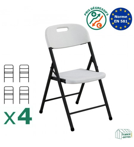 Lot de 4 chaises pliantes en Polyéthylène adaptées pour un usage intensif