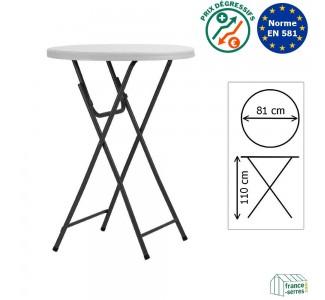 Table haute mange-debout pliante en Polyéthylène de haute qualitédiamètre 81cm