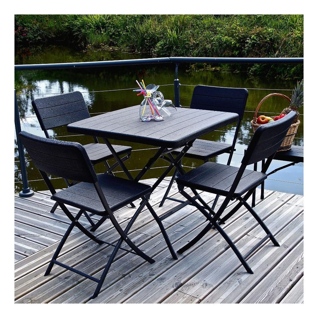 Pack promotionnel de 4 chaises et d\'une table carrée de 78cm ...