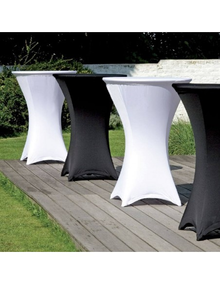 Pack Table Mange-debout + housse de plateau top lycra noir