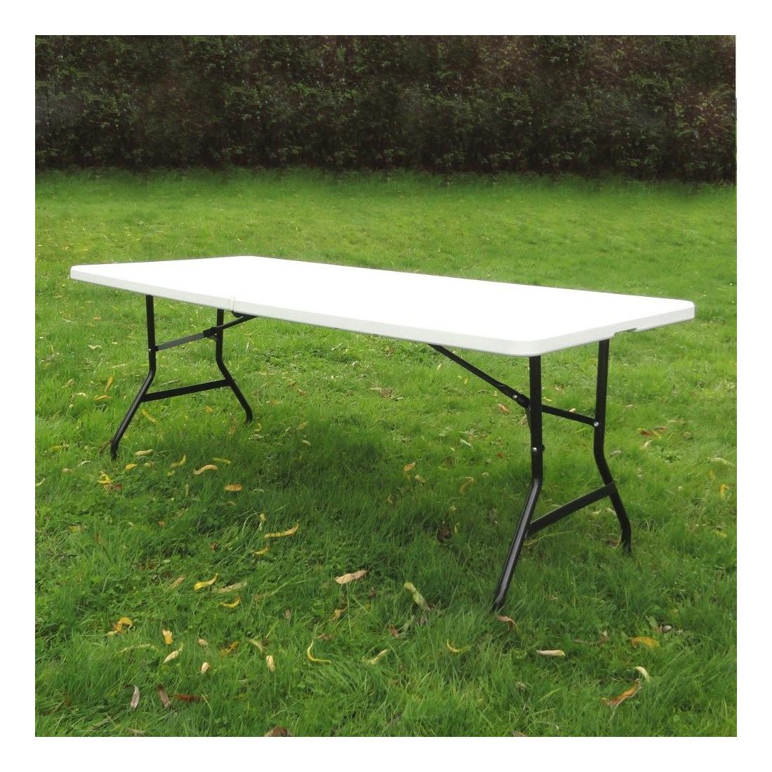 table pliante rectangulaire 183cm blanche pliante en valise en poly thyl ne. Black Bedroom Furniture Sets. Home Design Ideas