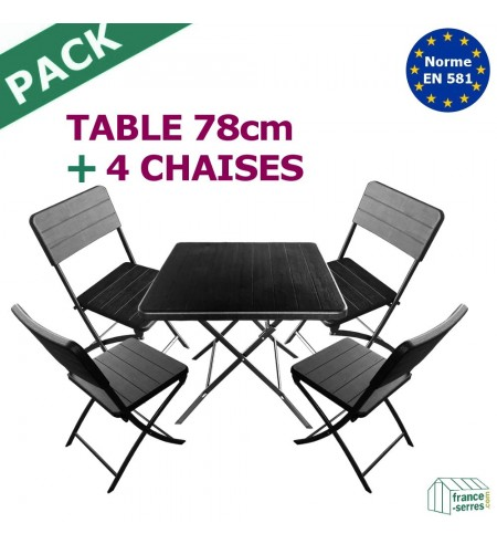 Pack TABLE CARRÉE pliante 78cm + 4 CHAISES pliantes en Polyéthylène NOIR imitation Bois