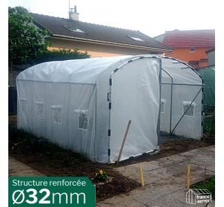 Serre de jardin tunnel avec pieds droits 12m²