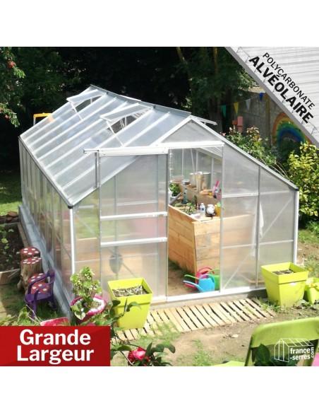 Serre de jardin 12,40m² XL Grande Largeur en aluminium et polycarbonate alvéolaire translucide de la Gamme Premium
