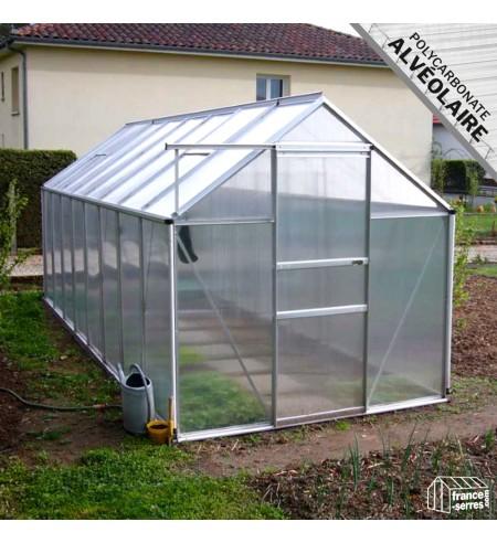 Serre de jardin 9,30m² plaques alvéolés anti-uv et structure aluminium