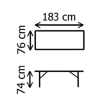 Dimensions de notre table pliante en valise de 183cm de long en polyéthylène