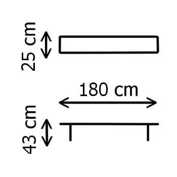 Dimensions d'un de nos bancs pliants noirs 180cm en Polyéthylène de Haute Densité (HDPE) conçus pour un usage intensif
