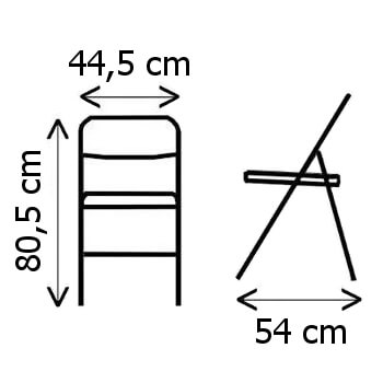 Dimensions d'une de nos chaises pliantes de haute qualité en polyéthylène noir imitation lattes de bois pour un usage intensif