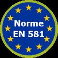 Répond à la Norme européenne EN 581 qui fixe les exigences générales de sécurité des sièges et tables d'extérieur à usages domestique, collectif et de camping