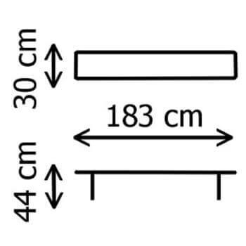 Dimensions d'un de nos bancs pliants en Polyéthylène de Haute Densité (HDPE) conçus pour un usage intensif