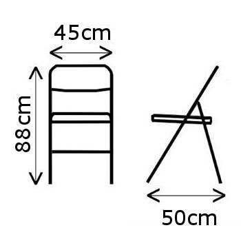 Dimensions d'une de nos chaises pliantes de haute qualité en polyéthylène pour un usage intensif