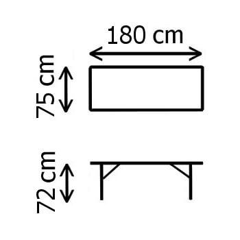 Dimensions de notre table pliante en valise de 1,80m de long en polyéthylène noir imitation bois