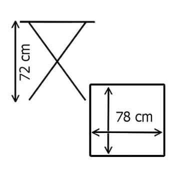 Dimensions de notre table carrée noire pliante de 78cm en Polyéthylène de Haute Densité (HDPE) conçue pour un usage intensif
