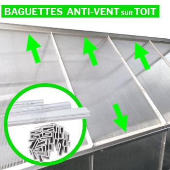 Baguettes de maintien sur toute la toiture