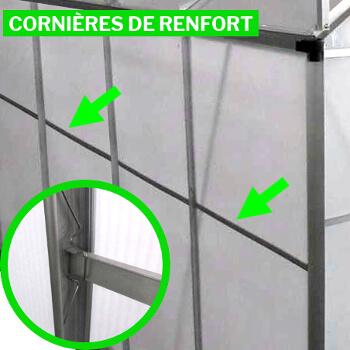 cornières de renfort en aluminium sur tout le pourtour de la serre polycarbonate