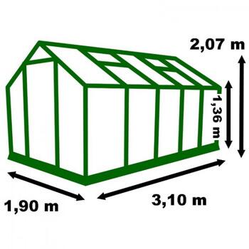Dimension de la serre de jardin alu 6m²