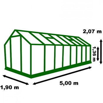 Dimension de la serre de jardin alu 9m²