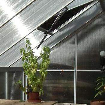 Lucarne présente sur le toit de la serre de jardin