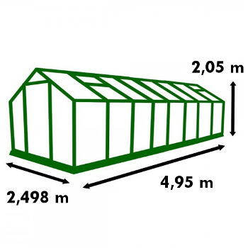 Dimensions de la serre de jardin Polycarbonate 12,40m²