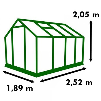 Dimensions de la serre de jardin Polycarbonate 4,75m²