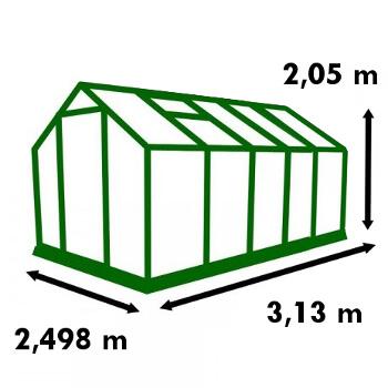 Dimensions de la serre de jardin Polycarbonate 7,80m²