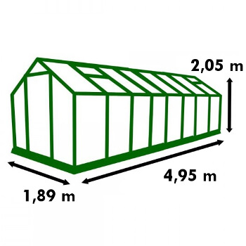 Dimensions de la serre de jardin Polycarbonate 9,30m²