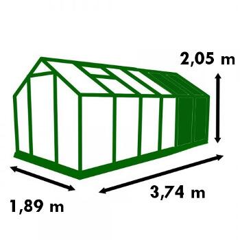Dimensions de la serre de jardin Polycarbonate 7,10m²