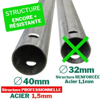 Serre tunnel de jardin à structure professionnelle renforcée Ø40mm épaisseur 1,5mm en Acier Galvanisé