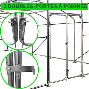 2 doubles-portes sur chanières avec loquet-poignée, butées et cales coulissantes