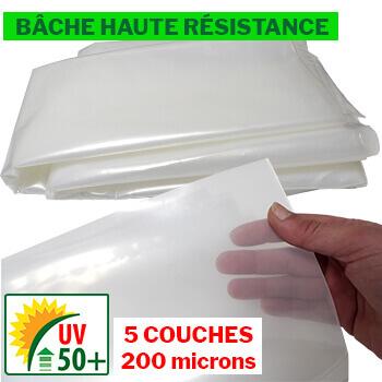 Bâche de HAUTE QUALITÉ de 200 microns d'épaisseur 5 COUCHES traitée anti-UV