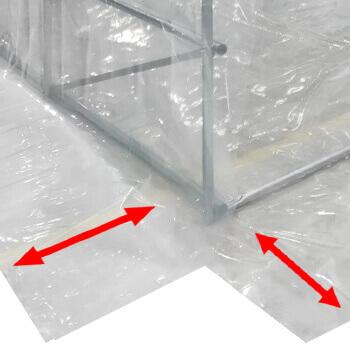 Bâche transparente avec grand retour au sol de 75cm
