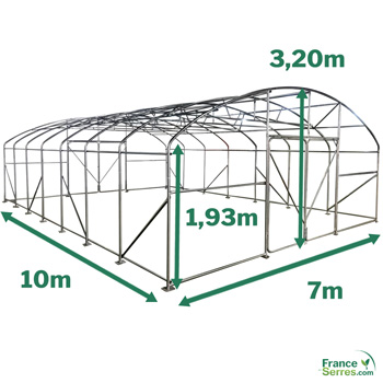 Serre PRO tunnel 70m² - 7m x 10m