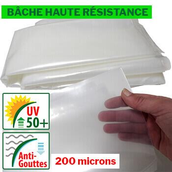 Bâche de HAUTE QUALITÉ de 200 microns d'épaisseur traitée anti-UV et anti-gouttes